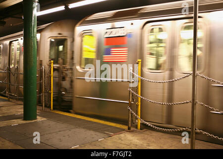 NEW YORK - JUN 22:  Interior of NYC Subway station, June 22, 2008 in New York. Subway system has 468 stations in - Stock Photo