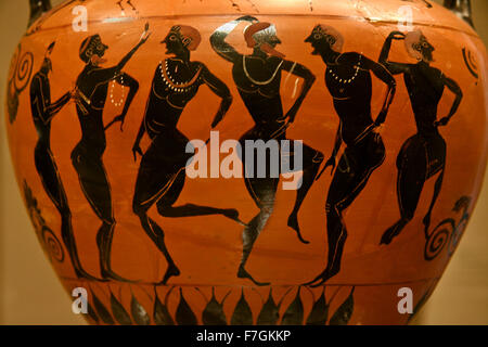 Ancient Greek Vase Paintings In Black Over Red Ceramic Isolated