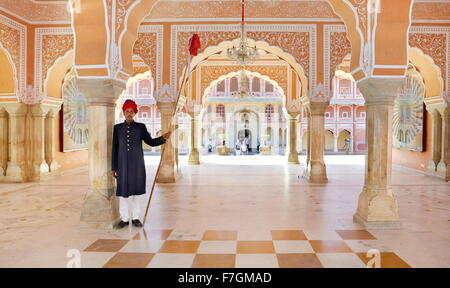 The Hall of Private Audience in Jaipur City Palace, Jaipur, Rajasthan, India - Stock Photo
