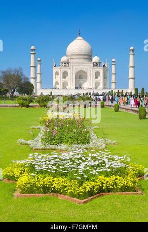 Taj Mahal and the Mughal gardens of the Taj Mahal, Agra, Uttar Pradesh, India - Stock Photo