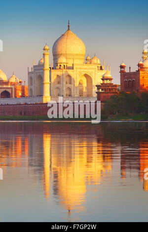 Taj Mahal and Yamuna River, Agra, Uttar Pradesh, India - Stock Photo