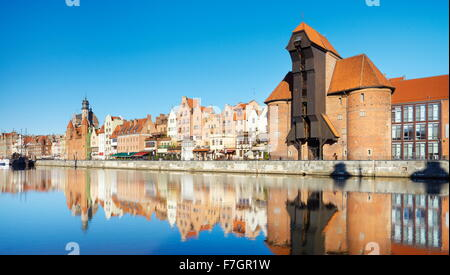 Gdansk Old Town, crane gate on the banks of the River Motlawa, Pomerania, Poland - Stock Photo