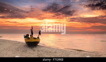 Sunset time landscape, Baltic Sea, Poland - Stock Photo