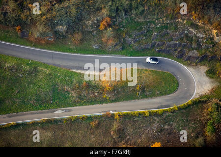 Serpentine roads in the vineyards of Oberwesel near Loreley, Rhine Valley, Rhine wine, colorful vine leaves, Golden - Stock Photo