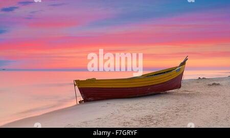 Sunset time landscape, romantic scene, Baltic Sea, Poland - Stock Photo