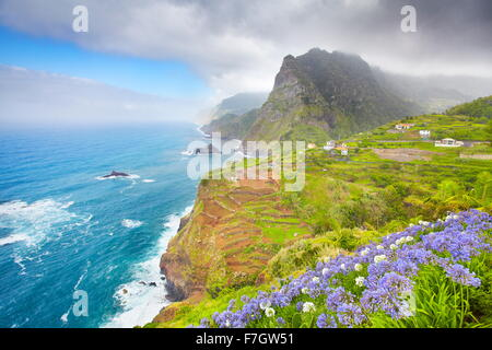 Madeira - landscape of cliff coast near Ponta Delgada, Madeira, Portugal - Stock Photo