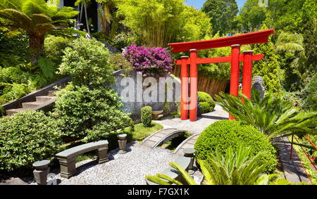 Monte Palace Tropical Garden (Japanese garden) - Monte, Madeira Island, Portugal - Stock Photo