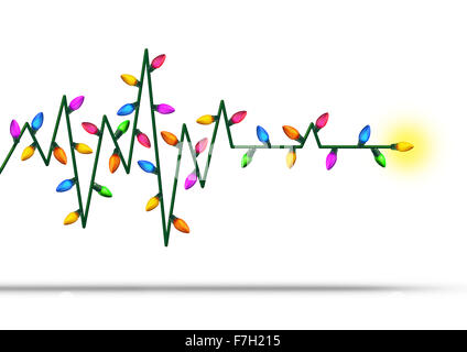 Holiday medical health care concept as an ekg or ecg life line made with christmas decoration lights as a symbol - Stock Photo