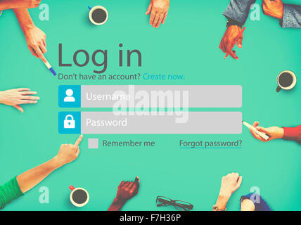 Log In Sign Up Register Account Page Concept - Stock Photo