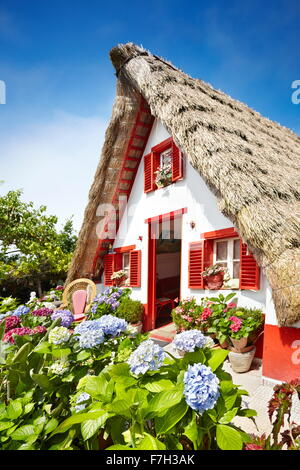 Santana Traditional home palheiros - Madeira Island, Portugal - Stock Photo