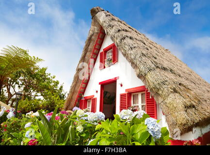 Traditional home palheiros - Santana village, Madeira Island, Portugal - Stock Photo