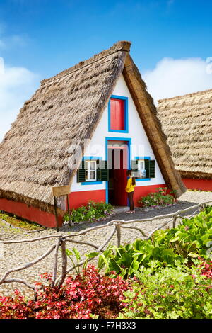 Traditional home palheiros - Santana, Madeira Island, Portugal - Stock Photo