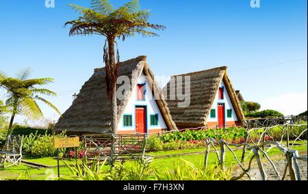 Traditional home palheiros - Santana, Madeira Island, Portugal - Stock Photo