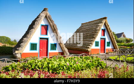 Santana - traditional home palheiros - Madeira Island, Portugal - Stock Photo