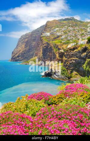 View at Cabo Girao Cliff - Camara de Lobos, Madeira island, Portugal - Stock Photo