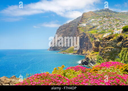 Landscape with Cabo Girao (580 m highest) cliff - Camara de Lobos, Madeira Island, Portugal
