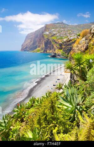 View at Cabo Girao (580 m highest) cliff - Camara de Lobos, Madeira Island, Portugal - Stock Photo