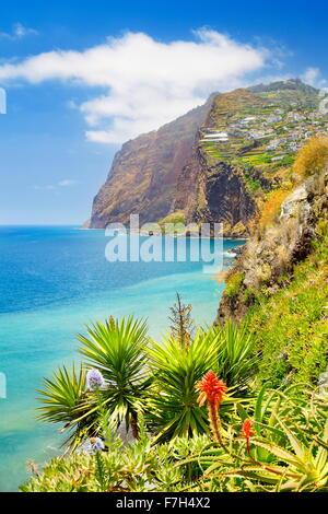 Madeira Island landscape- Cabo Girao cliff - Camara de Lobos, Portugal - Stock Photo