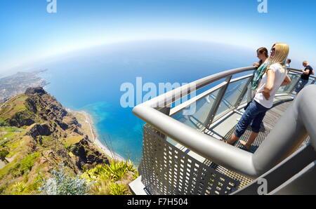 At the top of Cabo Girao (580 m highest) cliff - Camara de Lobos, Madeira Island, Portugal - Stock Photo
