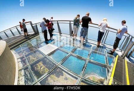 Panoramic terrace (with glass floor) at the top of Cabo Girao (580 m highest) cliff - Camara de Lobos, Madeira Island, - Stock Photo