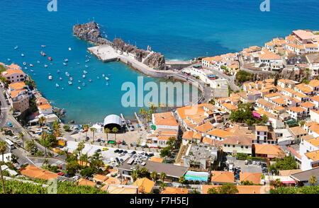 Aerial view of Camara de Lobos, Madeira Island, Portugal - Stock Photo