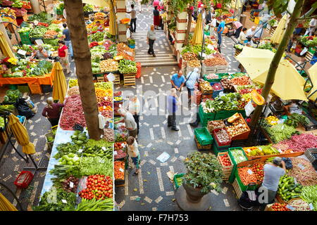 Mercado dos lavradores, fresh fruit and vegetables in the Funchal market, Madeira island, Portugal - Stock Photo