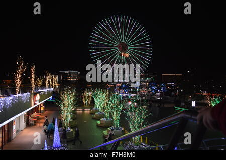 Beautiful Yokohama harbor port Minato mirari in night with long exposure to cover illumination - Stock Photo