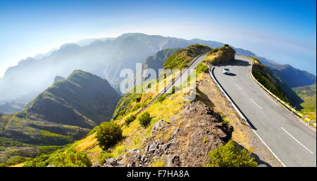 Alpine road from Encumeada Pass to plateau Paul da Serra, Madeira Island, Portugal - Stock Photo