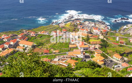 Aerial view of Porto Moniz, Madeira Island, Portugal - Stock Photo
