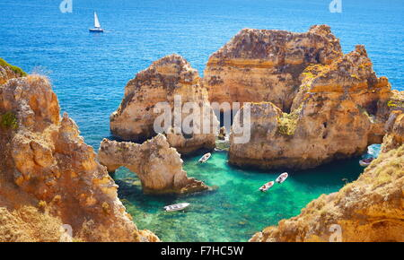 Algarve coast Ponta da Piedade near Lagos, Algarve, Portugal - Stock Photo
