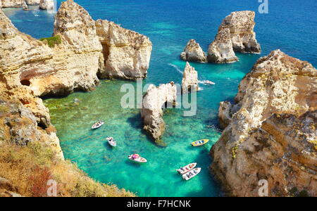Algarve coast Ponta da Piedade near Lagos, Portugal - Stock Photo