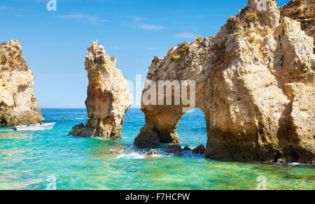 Algarve coast Ponta da Piedade near Lagos, Portugal - Stock Photo