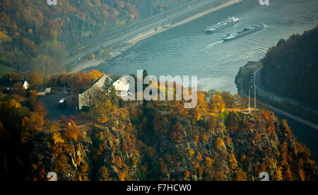 The Loreley, Lorelei rock, shale rock in the UNESCO World Heritage Upper Middle Rhine Valley in Sankt Goarshausen, - Stock Photo