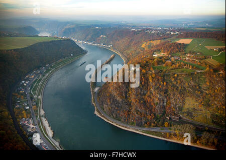 The Loreley, Lorelei rock, shale rock in the UNESCO World Heritage Upper Middle Rhine Valley in Sankt Goarshausen, - Stock Photo