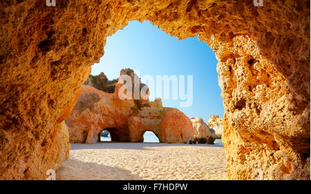 The cave on the Prainha Beach near Alvor, Algarve, Portugal - Stock Photo