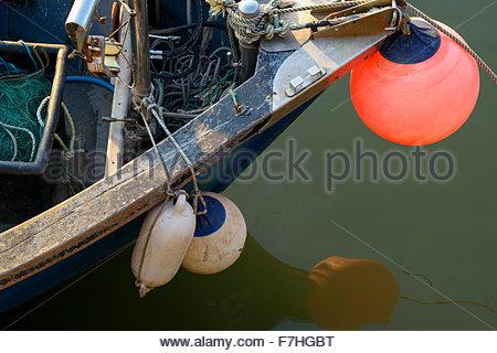 Fishing boat prow, West Bay, Dorset England - Stock Photo