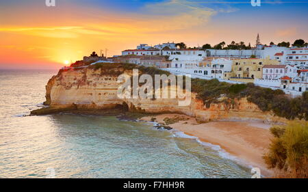Sunset at Algarve coast, Carvoeiro, Portugal - Stock Photo
