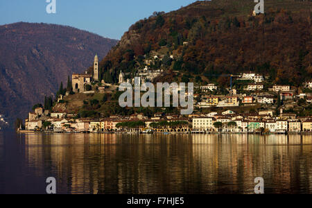 Morcote am Luganersee, Herbst, Tessin, Schweiz - Stock Photo