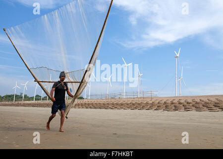 COX's BAZAR, BANGLADESH - November 29: Fisher man of Climate Change and Sea Level Raise area going to fishing in - Stock Photo