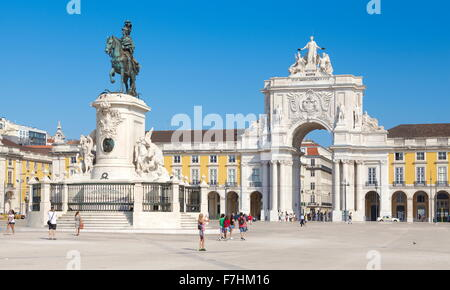 Lisbon - Commerce Square (Praca do Comercio), Lisbon, Portugal - Stock Photo