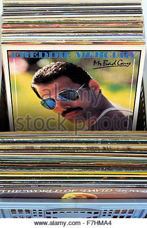 Freddie Mercury 1985 album Mr Bad Guy, CD cases, England - Stock Photo