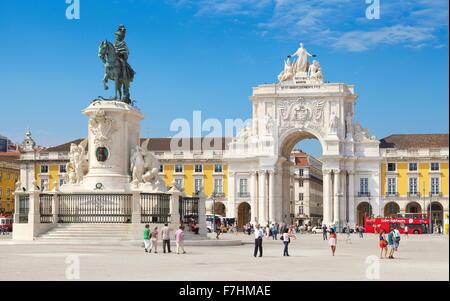 Commerce Square (Praca do Comercio), King Jose Monument, Lisbon, Portugal - Stock Photo