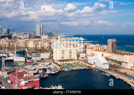 Aerial view  of Barcelona seaside from high point. Catalonia, Spain - Stock Photo