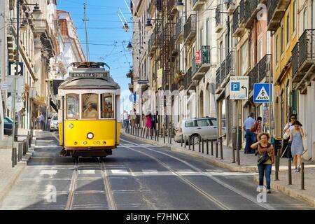 POpular transport in Lisbon - Tram 28, Portugal - Stock Photo