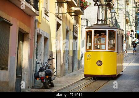 Lisbon Tram, 'Elevador da Bica' Portugal - Stock Photo