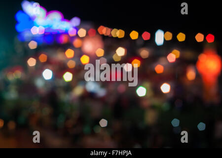 Abstract blurred lights in Loy Krathong festival, stock photo - Stock Photo