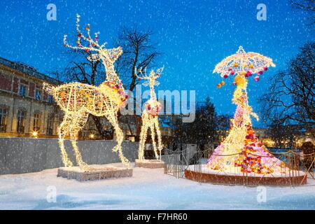 Outdoor Winter Christmas Decoration, Warsaw, Poland - Stock Photo