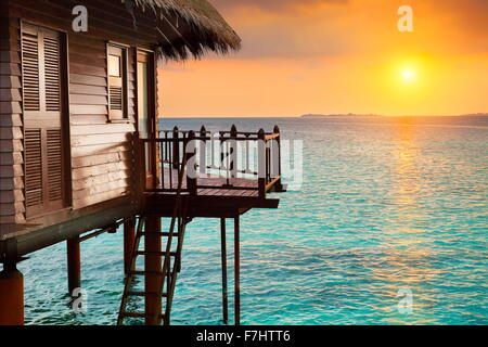 Tropical sunset landscape at  hotel Maldives Island - Stock Photo