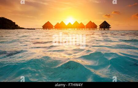 Sunset at Maldives Tropical Island, Ari Atoll - Stock Photo