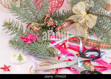 Decorating for Christmas creative chaos. Holiday rush - Stock Photo